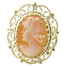 Vintage 10 Karat Yellow Gold Cameo Ring Size 6.5