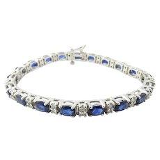 Vintage 14 Karat White Gold Sapphire and Diamond Bracelet