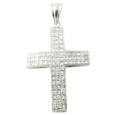Vintage 14 Karat White Gold Princess Diamond Cross Pendant