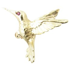 Vintage 14 Karat Yellow Gold and Ruby Hummingbird Brooch/Pin