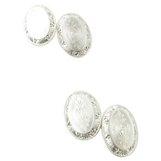 Vintage 14 Karat White Gold Cufflinks