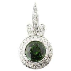 Vintage 18 Karat White Gold Green Tourmaline and Diamond Pendant
