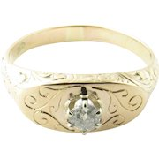 Vintage 14 Karat Yellow Gold and Diamond Ring Size 5.25