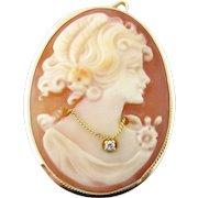 Vintage 14 Karat Yellow Gold and Diamond Cameo Pendant
