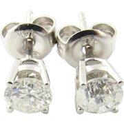 Vintage 14 Karat White Gold Diamond Stud Earrings .54 ct.