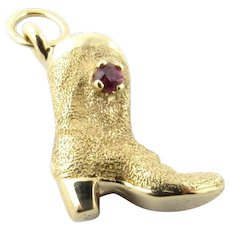 Vintage 14 Karat Yellow Gold and Ruby Cowboy Boot Charm