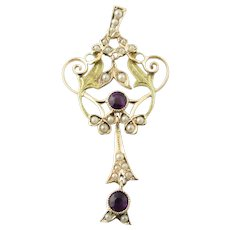 Antique 10 Karat Yellow Gold Amethyst and Pearl Pendant