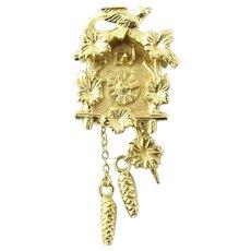 Vintage 14 Karat Yellow Gold Mechanical Cuckoo Clock Charm