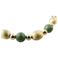 Vintage 14 Karat Yellow Gold and Green Jade Beaded Necklace