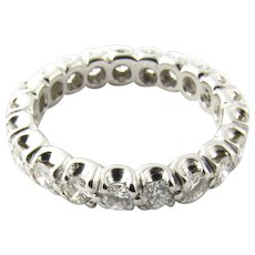 Vintage 14 Karat White Gold Diamond Eternity Band Size 5.25