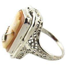 Vintage 14 Karat White Gold Cameo Flip Ring Size 5