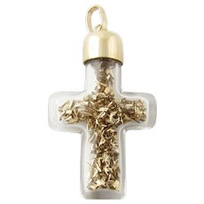 Vintage 14 Karat Yellow Gold Glass Cross with Gold Flakes Pendant