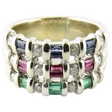 Vintage 14 Karat White Gold Sapphire, Emerald and Ruby Ring Size 8