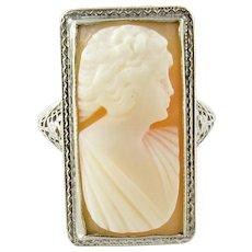 Vintage 14 Karat White Gold Cameo Ring Size 6.5