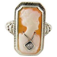 Vintage 14 Karat White Gold and Diamond Cameo Ring Size 7
