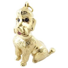 Vintage 14 Karat Yellow Gold, Ruby and Pearl Poodle Charm