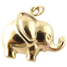 Vintage 10 Karat Yellow Gold Elephant Charm