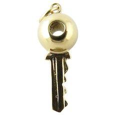 Vintage 14 Karat Yellow Gold Key Charm