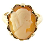 Vintage 10 Karat Yellow Gold Cameo Ring Size 4.75