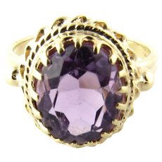 Vintage 14 Karat Yellow Gold Amethyst Ring Size 5.5