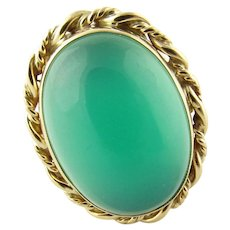 Vintage 14 Karat Yellow Gold Green Onyx Ring Size 6.5