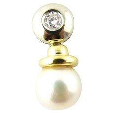 Vintage 18 Karat Yellow Gold Pearl and Diamond Pendant