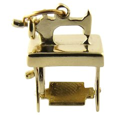Vintage 14 Karat Yellow Gold Sewing Machine Charm