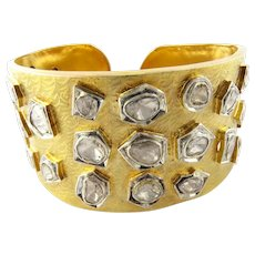Vintage 16K Yellow Gold Rose Cut Diamond Large Cuff Bracelet