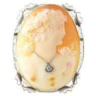 Vintage 10 Karat White Gold and Diamond Cameo Pendant/Brooch