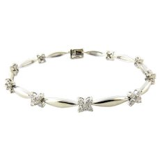 Vintage 14 Karat White Gold and Diamond Bracelet 7 inches