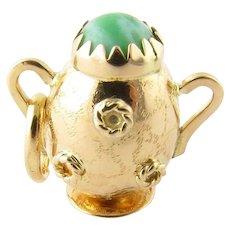 Vintage 14 Karat Yellow Gold and Jade Vase Charm