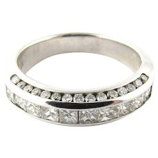 Vintage 14 Karat White Gold Diamond Wedding Band Size 6.75