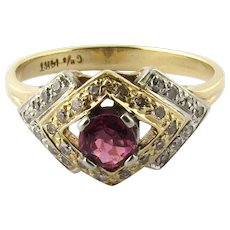 Antique Art Deco Two Tone 14K White and Yellow Gold Ruby Diamond Ring, Size 6