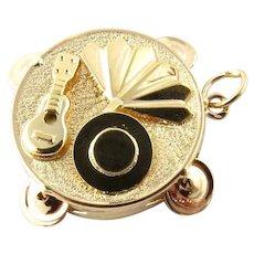 Vintage 14 Karat Yellow Gold Tambourine Charm
