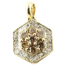 Vintage 10 Karat Yellow Gold Champagne and White Diamond Pendant