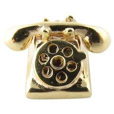 "Vintage 14 Karat Yellow Gold  ""Hello"" and ""I Love U"" Rotary Telephone Charm"