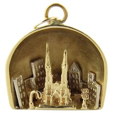 Vintage 14 Karat Yellow Gold St. Patrick's Cathedral Charm