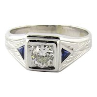 Men's Vintage 14K White Gold Diamond and Sapphire Ring, Size 10.75