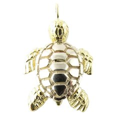 Vintage 14 Karat Yellow Gold Sea Turtle Charm