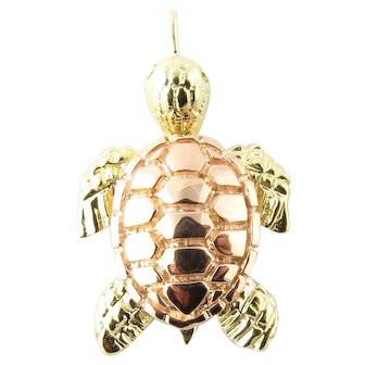 Vintage 14 Karat White and Rose Gold Sea Turtle Charm
