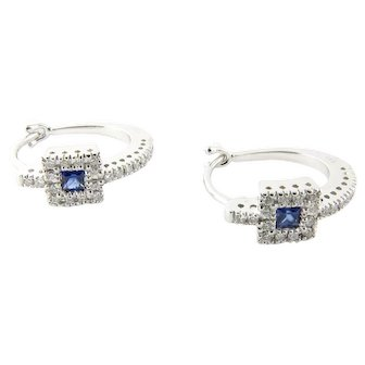 Vintage 14 Karat White Gold Diamond and Sapphire Earrings