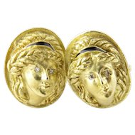 Vintage 18 Karat Yellow Gold and Diamond La Triomphe Cufflinks