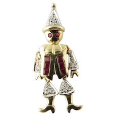 Vintage 14 Karat Yellow Gold Ruby and Diamond Clown Pendant