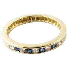 Vintage 14 Karat Yellow Gold Sapphire and Diamond Band Size 6.5