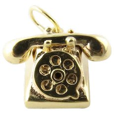 Vintage 14 Karat Yellow Gold Rotary Dial Telephone Charm