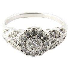 Vintage 14 Karat White Gold Diamond Flower Ring Size 7.75