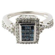 Vintage 14 Karat White Gold Blue and White Diamond Ring Size 7.75