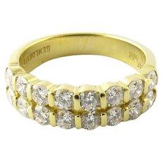 Vintage 18 Karat Yellow Gold Diamond Wedding Band Size 4.25