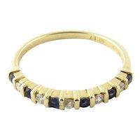 Vintage 14 Karat Yellow Gold Sapphire and Diamond Ring Size 6.5