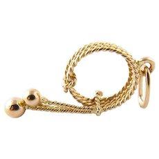 Vintage 18 Karat Yellow Gold Whip Charm